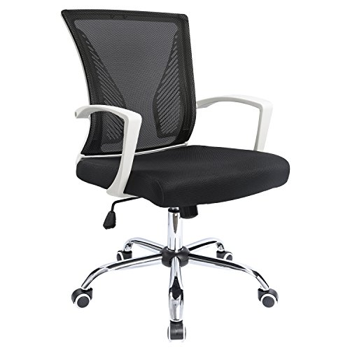 Furmax Office Chair Mid Back Swivel Lumbar Support Desk Chair, Computer Ergonomic Mesh Chair (White)
