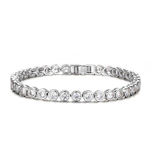 Brilliant Cut White Brooch (HONGYE Women Platinum Plated Round Cut 5mm Cubic Zirconia Tennis Bracelet for Women)