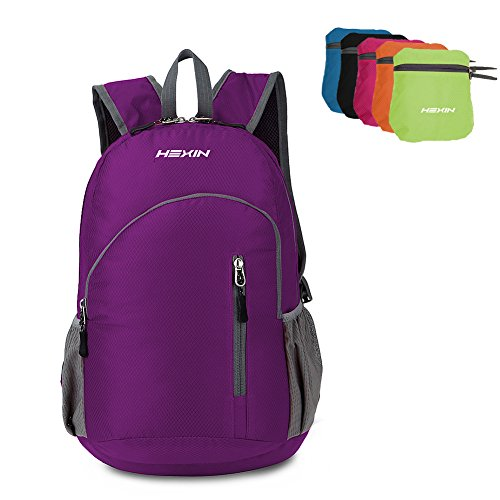 HEXIN Casual Foldable Nylon Backpack Hiking Sport Durable Lightweight Hand Bag with Secuirity Zippers,25L ...