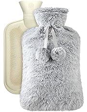 Vicloon Warmwaterfles, 2L warmwaterzak met deksel, zachte pluisjes, baby warmwaterfles, zorgen voor warmte en comfort voor nek, rug, taille, cadeau voor verjaardag, Kerstmis, Vader&Moederdag