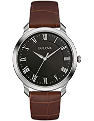 Bulova Men's Quartz Stainless Steel and Brown Leather Dress Watch (Model: 96A184)