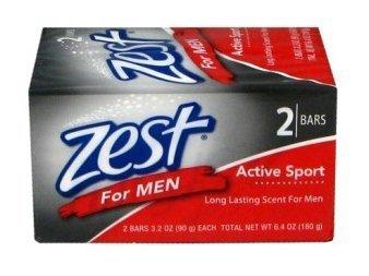 Zest for Men Bath Soap, Active Sport, 6 (Six) 4oz Bars