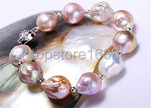 - FidgetKute 13-14mm Multicolor Reborn keshi Freshwater Pearl Bracelet 925 Silver Clasp 7.5
