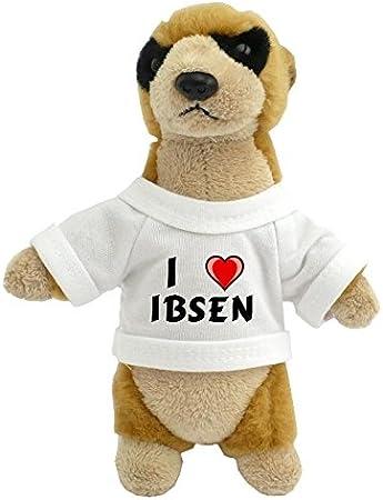 Suricata personalizada de peluche (juguete) con Amo Ibsen en la camiseta (nombre de pila/apellido/apodo)