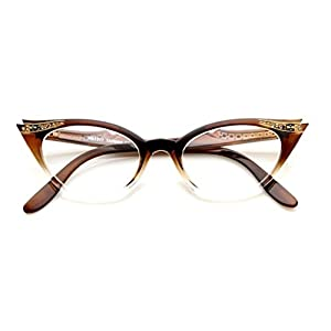 Cateye Women's Eyeglasses or Sunglasses Vintage Inspired Fashion (Brown Fade Frame Clear)…