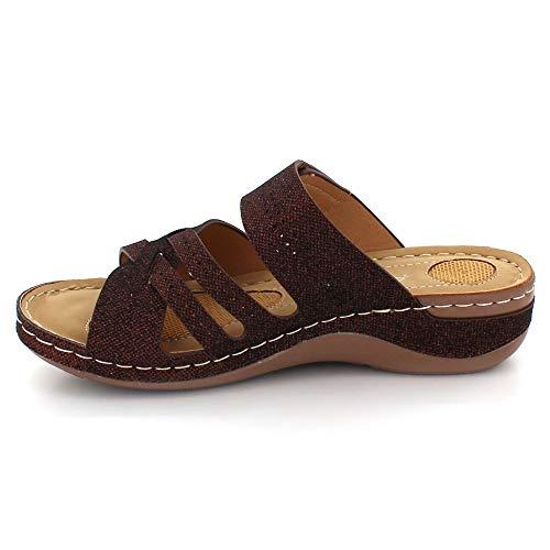 Cada De Tacón Comodidad Abierta Punta Verano Tamaño Ponerse Señoras Marrón Zapatos Mujer Ligero Cuña Día Casual Sandalias fxqgn