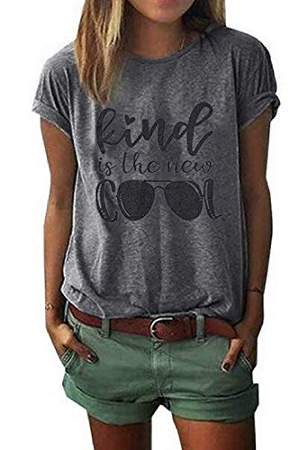 Kind is The New Cool Shirt Kindness T Shirt Women Graphic Funny Inspirational Tee Short Sleeve Christian Tee Tops Size M (Gray)