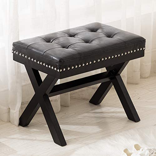 Artechworks PU Leather Upholstered Ottoman Footstool Seat with X-Shaped Wooden Legs for Patio Bedroom Living Room Dining Room Hallway Entryway, Black