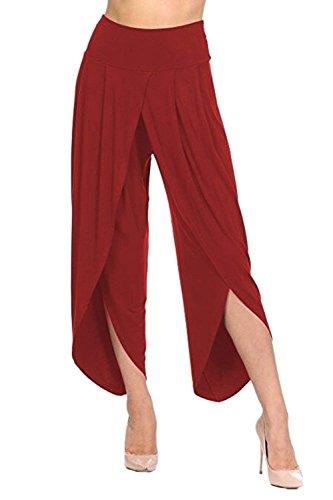 Tempo Culotte Pants Baggy Libero Rosso Colori Accogliente Leggero Donna Palazzo Pantaloni Pantaloni Irregular Anaisy Women Solidi High Estivi Grazioso Waist Elegante Giovane Pantaloni RqwfxT6P
