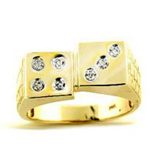 Diamond Ring 14K Yellow or 14K White Gold Lucky 7 Dice Ring Craps