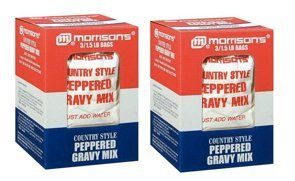Style Gravy Mix (Morrisons Peppered Country Style Gravy Mix, 2 Large Boxes, (6) 1.5 Lb Individual Bags Total)