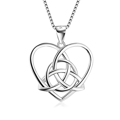 YAXING Sterling Silver Good Luck Irish Celtic Heart Love Knot Pendant Necklace 18