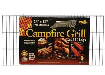 Campfire Grill Grid with Folding Legs, 12″x24″