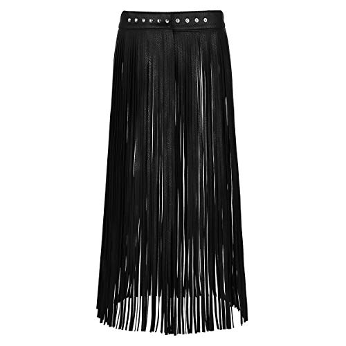 Alvivi Women's Adjustable Waistband Faux Leather Fringe Dress Belt Gypsy Style Tassel Skirt Black Long Skirt Large