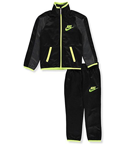 Nike Boys Jacket & Pants Track Suit Set Sweatsuit (4, Black Yellow)