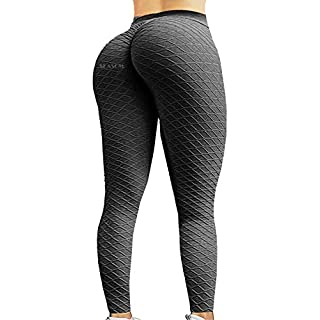 SEASUM Women's High Waist Yoga Pants Scrunched Booty Leggings Workout Running Butt Enhance Textured Tights L