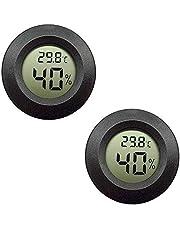 DollaTek 2Pcs Mini Digital LCD Temperatuur-vochtigheidsmeter Thermometer Hygrometer Round - Zwart