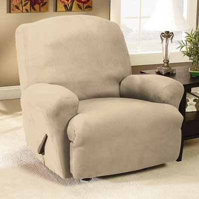 Stretch Suede Recliner Slipcover Fabric: (As Shown) Oatmeal by Surefit