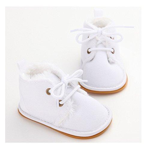 Sabe Winter Newborn Unisex Baby Girls Boys Velvet Rubber Sole Anit-slip Shoes Prewalker Boots (0-6 month, White)