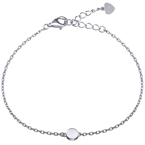 Meow Star Sterling Silver Dot Circle Bracelet Round Disc Chain Bracelet Tiny Bead Minimalist Bracelet (Silver) (White Gold Plated)
