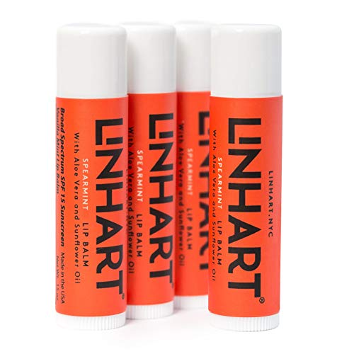 Linhart 100% Natural Beeswax Lip Balm - SPF 15 Lip Balm with Organic Moisturizing Ingredients - Spearmint Flavor (4 Pack)
