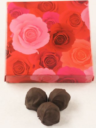Scott's Cakes Dark Chocolate Covered Maple Fudge Truffles in a 1 Pound Pink Roses Box