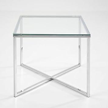 Beistelltisch glas chrom eckig for Wohnzimmertisch chrom glas