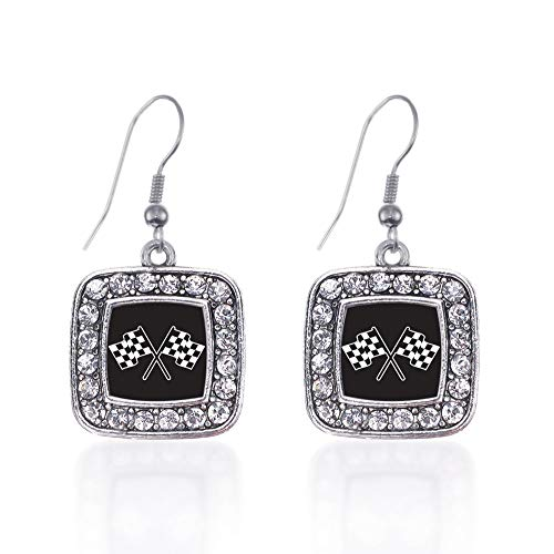 Inspired Silver - Racing Flags Charm Earrings for Women - Silver Square Charm French Hook Drop Earrings with Cubic Zirconia Jewelry