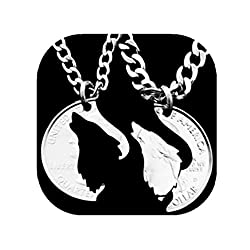 Hand Cut Howling Wolf Necklace Animal Wolves Pendant Couples Friends Relationship Puzzle Necklace