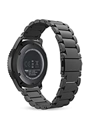 Gear S3 Watch Band, MoKo Stainless Steel Metal Replacement Smart Watch Strap Bracelet for Samsung Gear S3 Frontier / S3 Classic / Moto 360 2nd 46mm Smartwatch, BLACK (NOT FIT S2 & S2 Classic & Fit2)