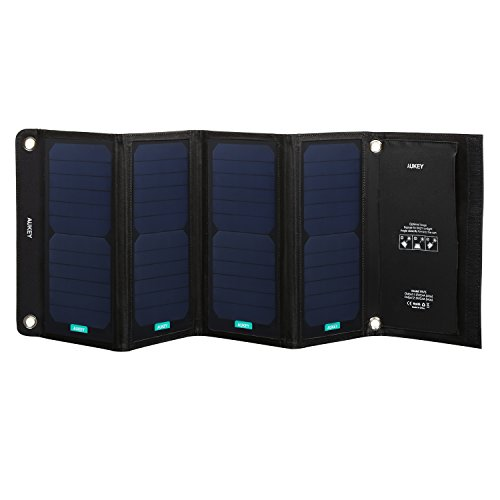 AUKEY 28W Solar Charger with Foldable Design & SunPower High Efficiency Solar Panels Compatible iPhone, iPad, Samsung and More