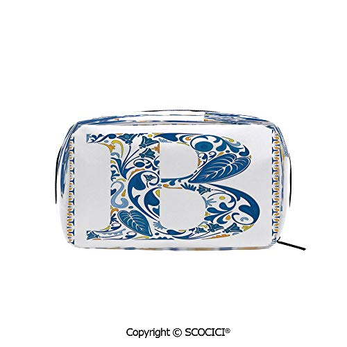 Rectangle Beauty Girl And Women Cosmetic Bags European Art Elements Floral B Letter in Alphabet Natural Inspirations Decorative Printed Storage Bags for Girls Travel