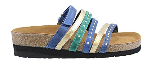 Nubuck Prescott Sandals Leather Naot Slide Women's Emerald Gold Oily Oily Blue Nubuck FPgZ5x