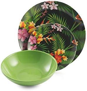 gres porcelana Vajilla de 18 piezas Villa dEste Home Tivoli 2193789 Jungle