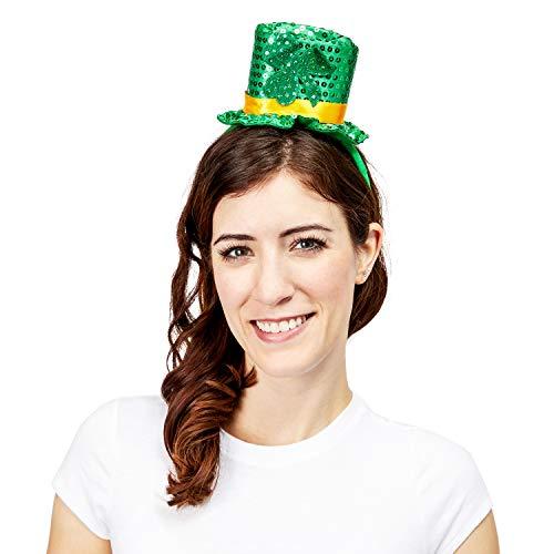 Juvale 2 Pack Irish Shamrock Top Hat Headband,