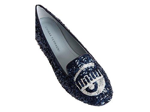 Ferragni paiette Chiara CF1218 PAIETTE Blu Blu Donna Modello Codice Mocassini Blu Ballerine p4qUdIOq