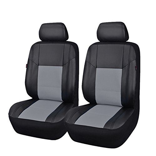 NEW ARRIVAL- CAR PASS Skyline PU LEATHER CAR SEAT COVERS - UNIVERSAL FIT FOR CARS,SUV,VEHICLES (6PCS, Elegent Black With Gray) (Best Way To Maintain Leather Car Seats)