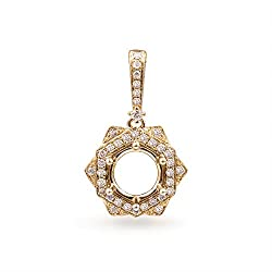 Yellow Gold Oval Emerald Diamond Pendant