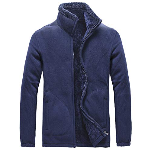 Price comparison product image HOSOME Men Thicken Windproof Jacket Autumn Winter Casual Long Sleeve Solid Fluffy Tops Dark Blue