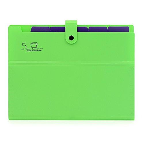 BTSKY Expanding File Folder-- A4 and Letter Size Archival File Holder Organizer, 5 Pockets (Green)