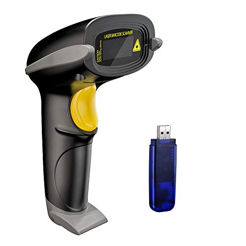 NADAMOO Wireless Barcode Scanner 328 Feet Transmission Distance USB Cordless 1D Laser Automatic Barcode Reader Handhold Bar Code Scanner with USB Receiver for Store, Supermarket, Warehouse ()