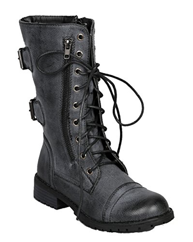 Lug 12 Womens Military Lace up Distressed Combat Boot Black 8 ()