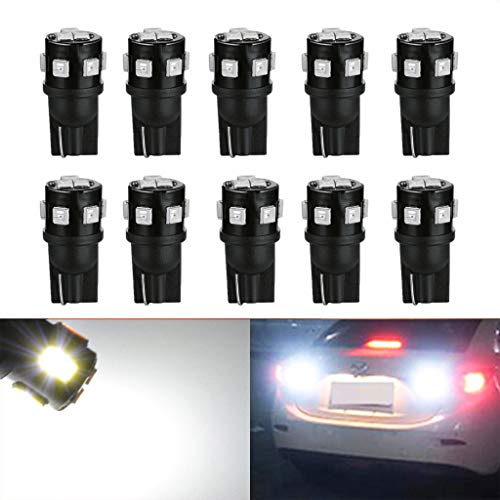 10 bombillas LED 194 superbrillantes, 168 2835 W5W T10, bombillas LED de cuña, luces LED de interior de coche, sin errores,...