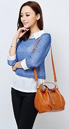 Souple main Cuir SAIERLONG Brun Sacs épaule Sacs Nouveau Bleu à Mode portés Femmes Oqwx4wZ