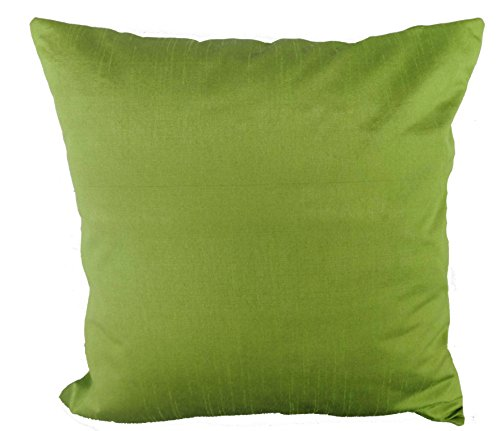 Saffron 18x18 Inch Polyester Silk Plain Decorative Solid Cushion Cover (18