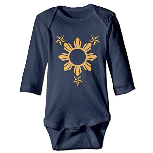 Newborn Baby Boys Girls One-Piece Rompers 3 Stars and Sun Filipino Philippines Flag Print Long Sleeve Underwear Babies Navy