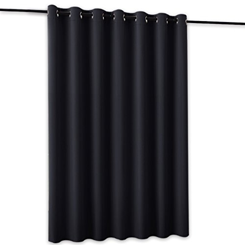RYB HOME Blackout Thermal Insulated Blind Curtains Reduce Sunlight Furniture Protecting Portable Sliding Door Window Screen Storage Partition Room Divider, 8.3 ft Wide x 7 ft Tall, Black, 1 (Iron Door Furniture)