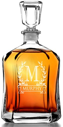 Bormioli Rocco Capitol Decanter 23.75 Oz - Engraved Monogram Personalized -