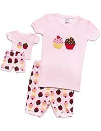 Matching Doll & Girl Shorts 2 Piece Pajama Set Top & Pants 100% Cotton (2 Toddler-10 Years)