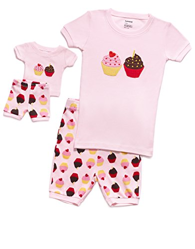 Leveret Shorts Cupcake Matching Doll & Girl 2 Piece Pajama Set 100% Cotton (6 Years) - Cupcake Pajama Set